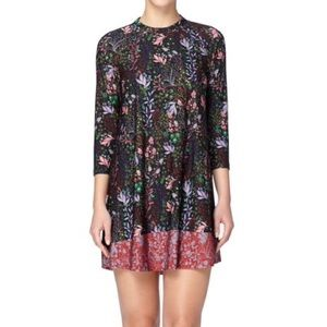 Catherine Malandrino Black Floral Shift Dress | M